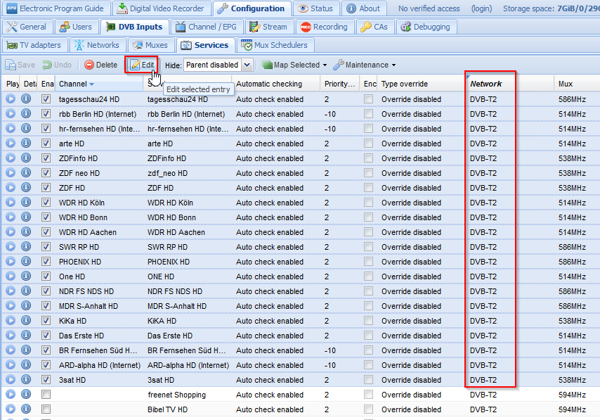 Select DVBT2 services